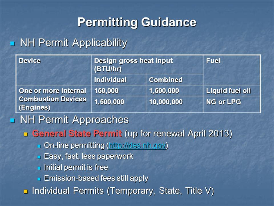 Permitting Guidance NH Permit Applicability NH Permit Applicability NH Permit Approaches NH Permit Approaches General State Permit (up for renewal Apr