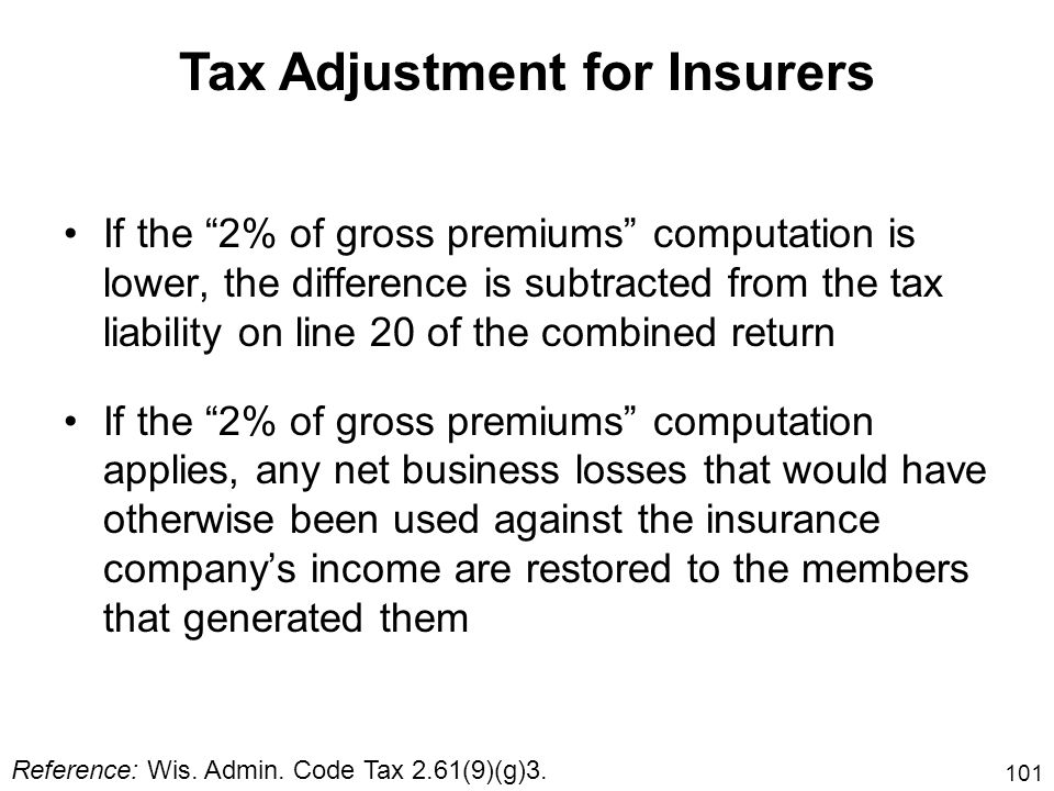 101 If the 2% of gross premiums computation is lower, the difference is subtracted from the tax liability on line 20 of the combined return If the 2%