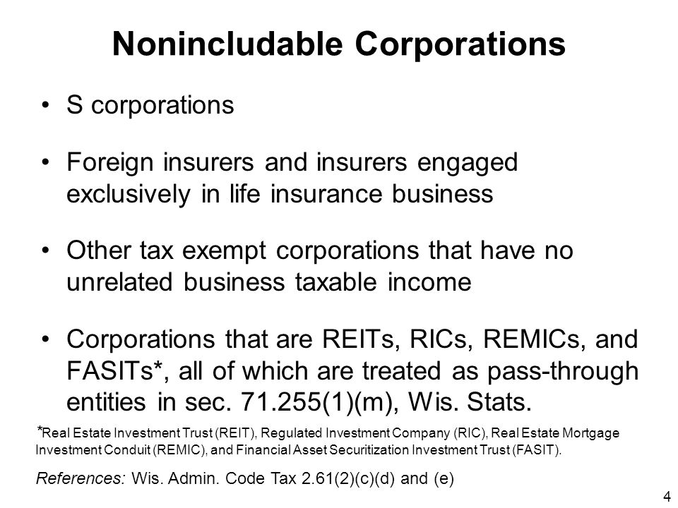4 Nonincludable Corporations S corporations Foreign insurers and insurers engaged exclusively in life insurance business Other tax exempt corporations