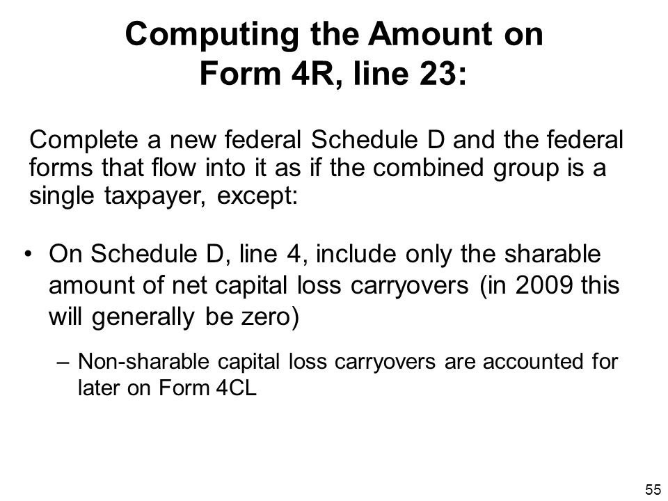 55 Computing the Amount on Form 4R, line 23: On Schedule D, line 4, include only the sharable amount of net capital loss carryovers (in 2009 this will