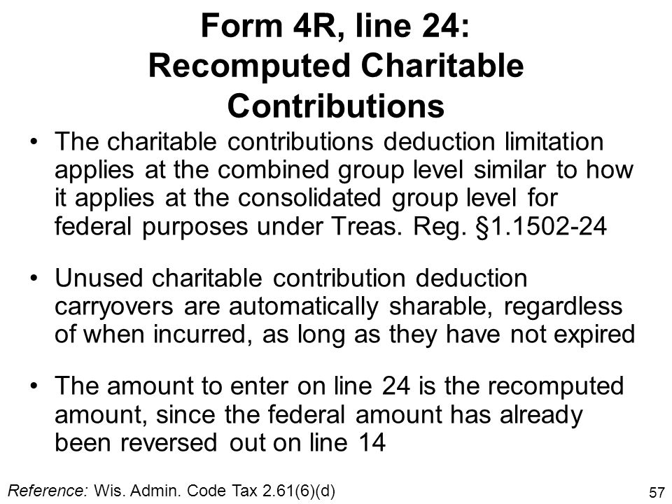 57 The charitable contributions deduction limitation applies at the combined group level similar to how it applies at the consolidated group level for