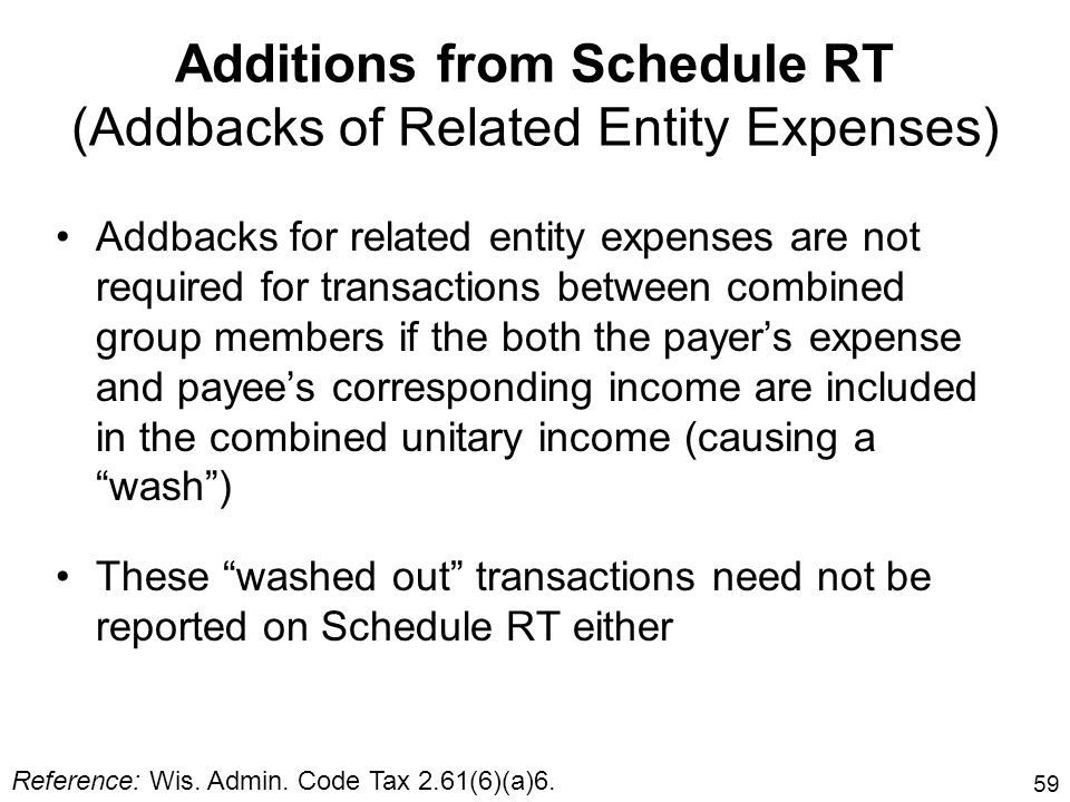 59 Additions from Schedule RT (Addbacks of Related Entity Expenses) Addbacks for related entity expenses are not required for transactions between com