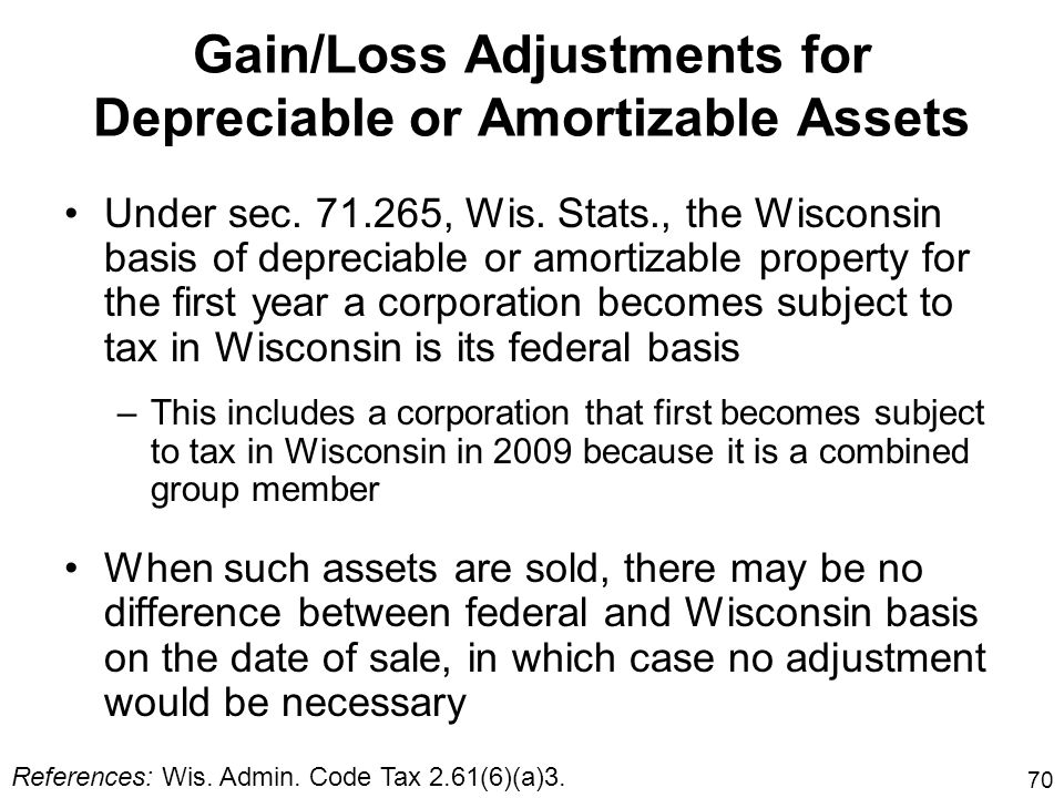 70 Gain/Loss Adjustments for Depreciable or Amortizable Assets Under sec. 71.265, Wis. Stats., the Wisconsin basis of depreciable or amortizable prope