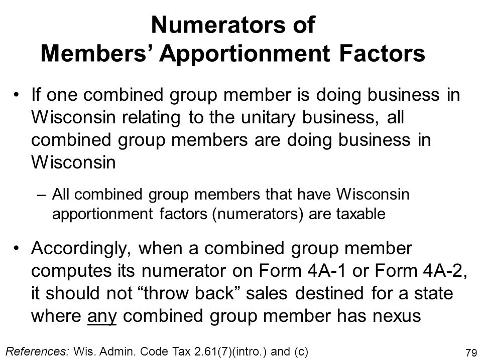 79 Numerators of Members Apportionment Factors If one combined group member is doing business in Wisconsin relating to the unitary business, all combi