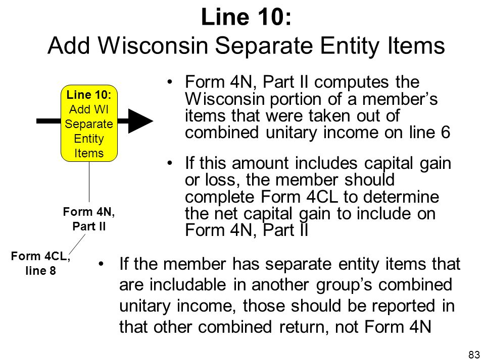 83 Form 4N, Part II computes the Wisconsin portion of a members items that were taken out of combined unitary income on line 6 If this amount includes