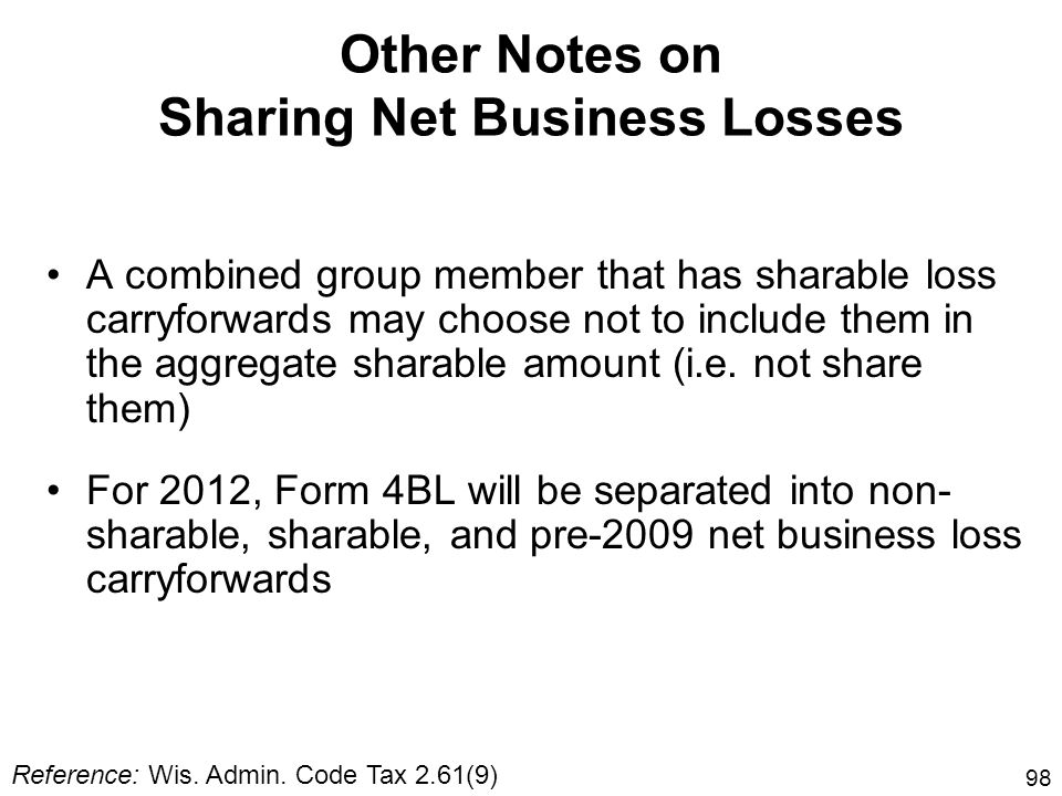 98 Other Notes on Sharing Net Business Losses A combined group member that has sharable loss carryforwards may choose not to include them in the aggre