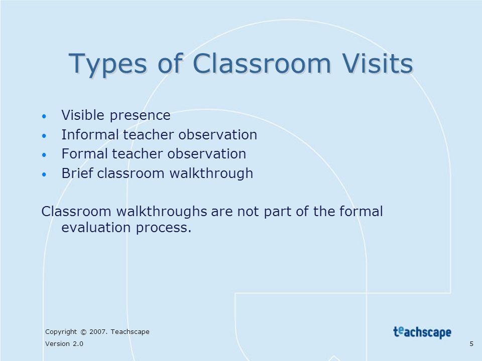 Copyright © 2007. Teachscape Version 2.0 5 Types of Classroom Visits Visible presence Informal teacher observation Formal teacher observation Brief cl