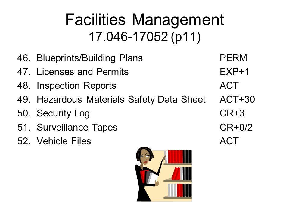 Facilities Management 17.046-17052 (p11) 46.Blueprints/Building PlansPERM 47.Licenses and PermitsEXP+1 48.Inspection ReportsACT 49.Hazardous Materials