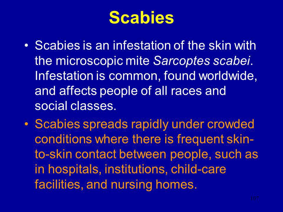 107 Scabies Scabies is an infestation of the skin with the microscopic mite Sarcoptes scabei. Infestation is common, found worldwide, and affects peop