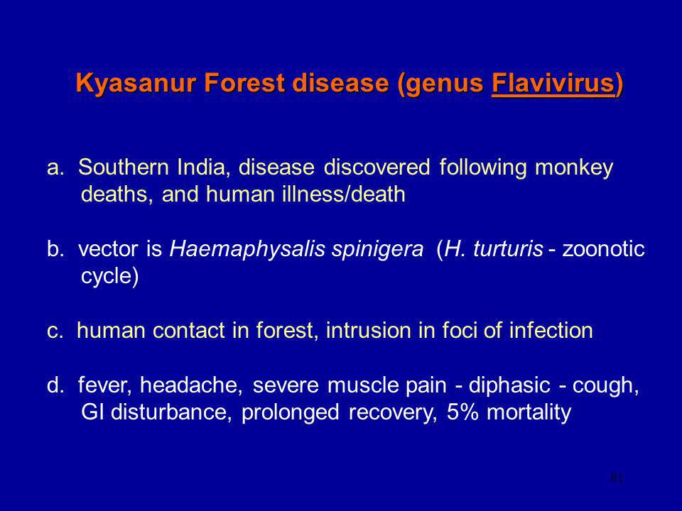 81 Kyasanur Forest disease (genus Flavivirus) a. Southern India, disease discovered following monkey deaths, and human illness/death b. vector is Haem