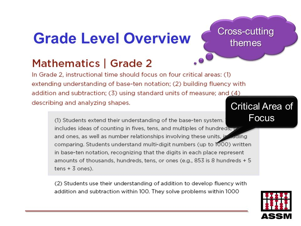 Grade Level Overview Critical Area of Focus Cross-cutting themes