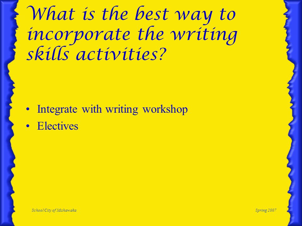 School City of MishawakaSpring 2007 What is the best way to incorporate the writing skills activities? Integrate with writing workshop Electives