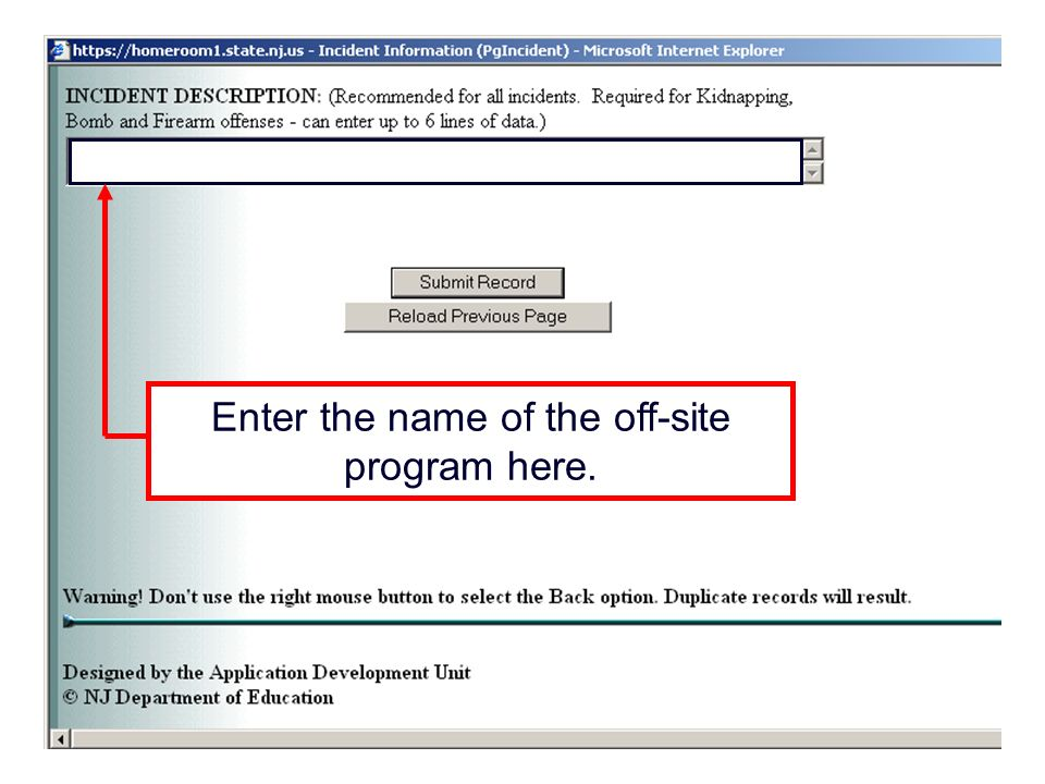 Enter the name of the off-site program here.