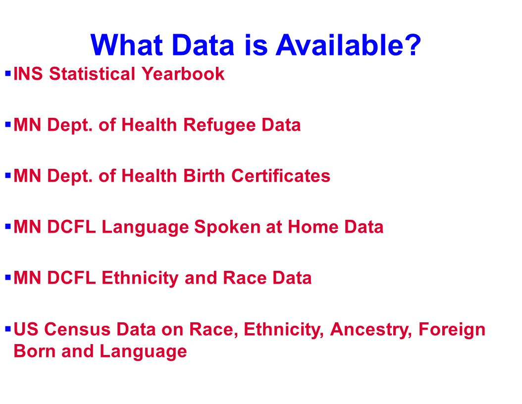 What Data is Available? INS Statistical Yearbook MN Dept. of Health Refugee Data MN Dept. of Health Birth Certificates MN DCFL Language Spoken at Home