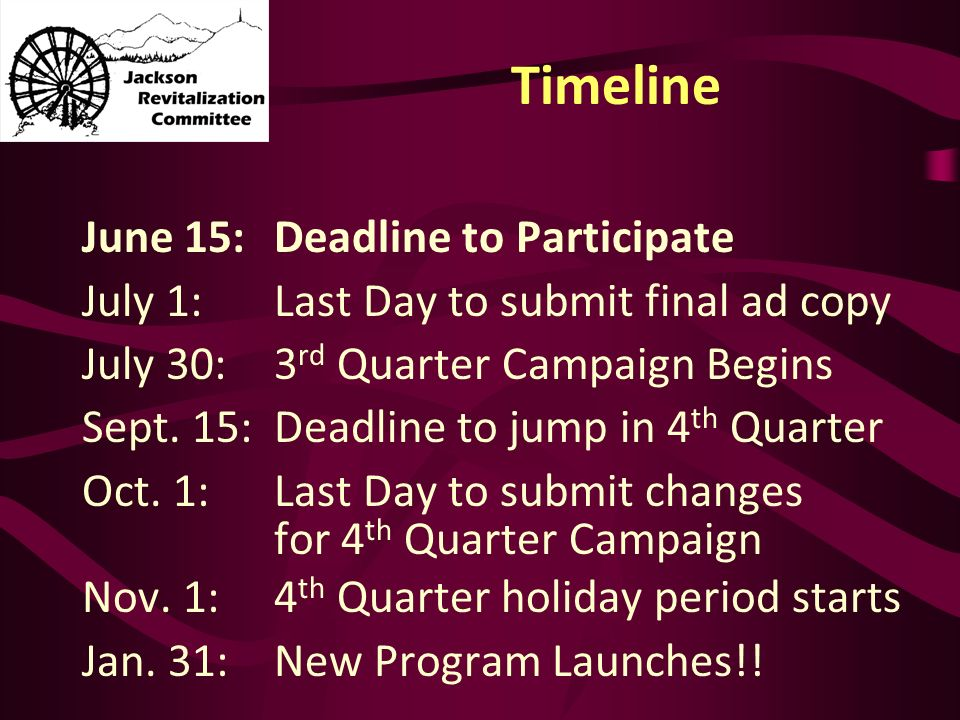 Timeline June 15:Deadline to Participate July 1:Last Day to submit final ad copy July 30: 3 rd Quarter Campaign Begins Sept.