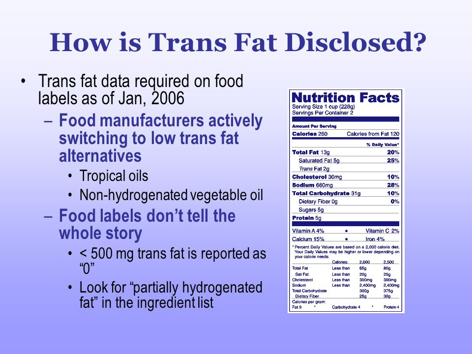 How is Trans Fat Disclosed? Trans fat data required on food labels as of Jan, 2006 – Food manufacturers actively switching to low trans fat alternativ