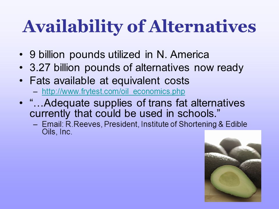 Availability of Alternatives 9 billion pounds utilized in N. America 3.27 billion pounds of alternatives now ready Fats available at equivalent costs