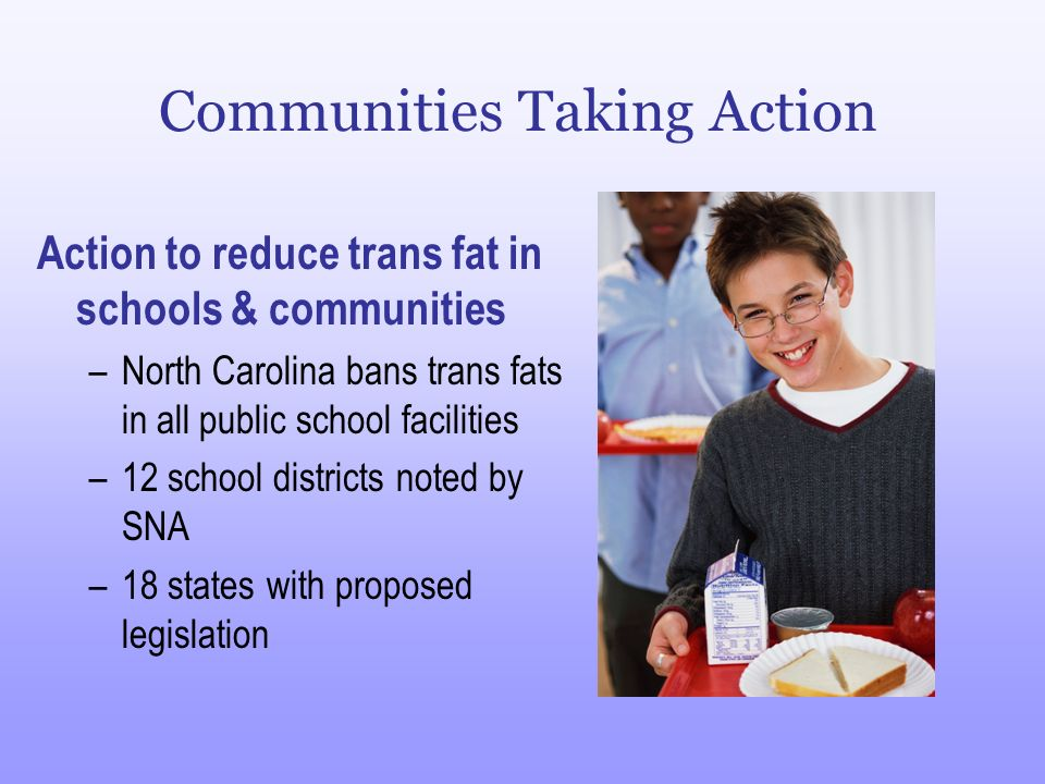Communities Taking Action Action to reduce trans fat in schools & communities –North Carolina bans trans fats in all public school facilities –12 scho