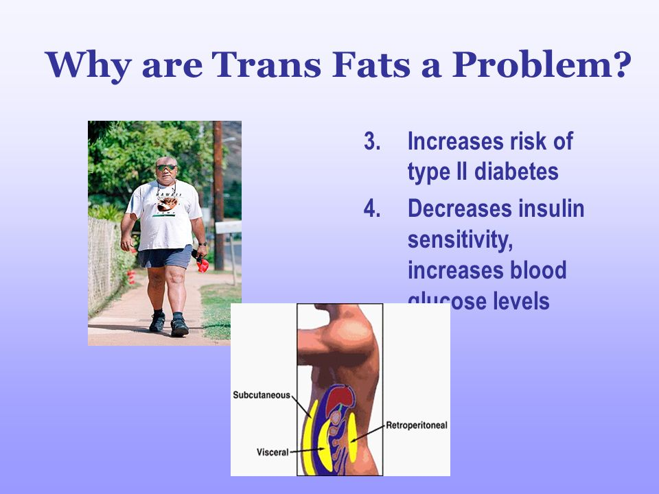 Trans Fat Is a Greater Health Risk than Saturated Fat Good (HDL) Bad (LDL) Cholesterol Cholesterol Trans fat Saturated fat