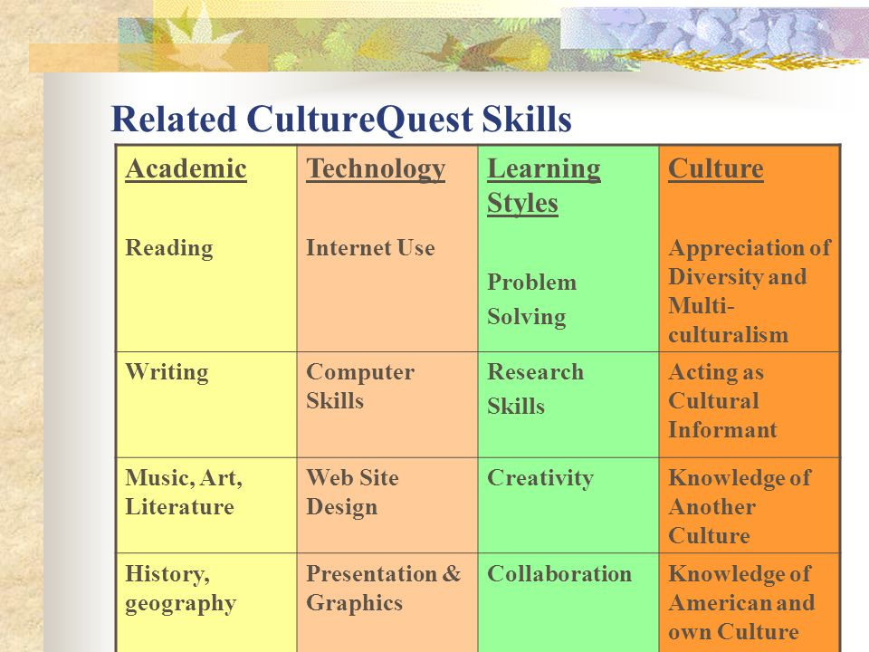 Related CultureQuest Skills Academic Reading Technology Internet Use Learning Styles Problem Solving Culture Appreciation of Diversity and Multi- cult