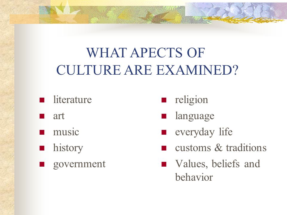 One Way of Structuring a CultureQuest Project Entire class find core information about the country (geography, history, demographics, etc).