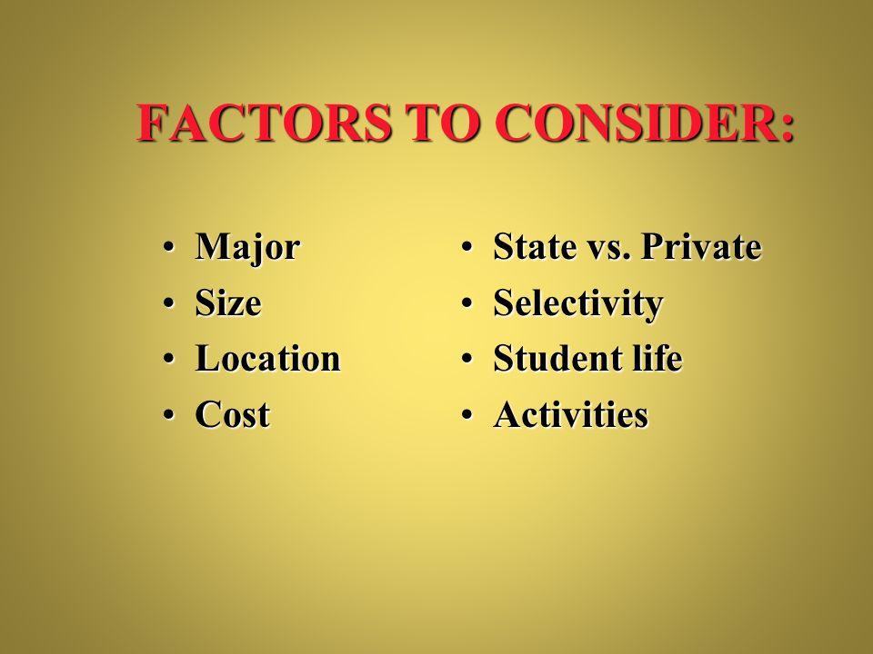 FACTORS TO CONSIDER: MajorMajor SizeSize LocationLocation CostCost State vs. PrivateState vs. Private SelectivitySelectivity Student lifeStudent life
