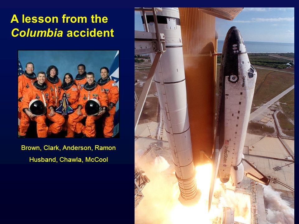 A lesson from the Columbia accident Brown, Clark, Anderson, Ramon Husband, Chawla, McCool