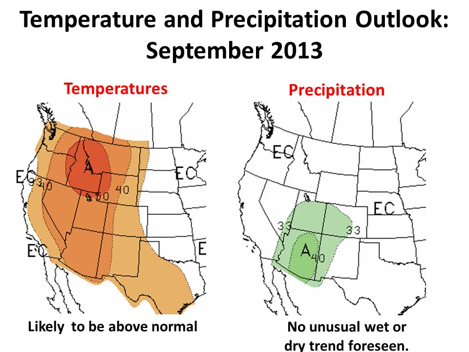 Temperatures Precipitation Temperature and Precipitation Outlook: September 2013 No unusual wet or dry trend foreseen.