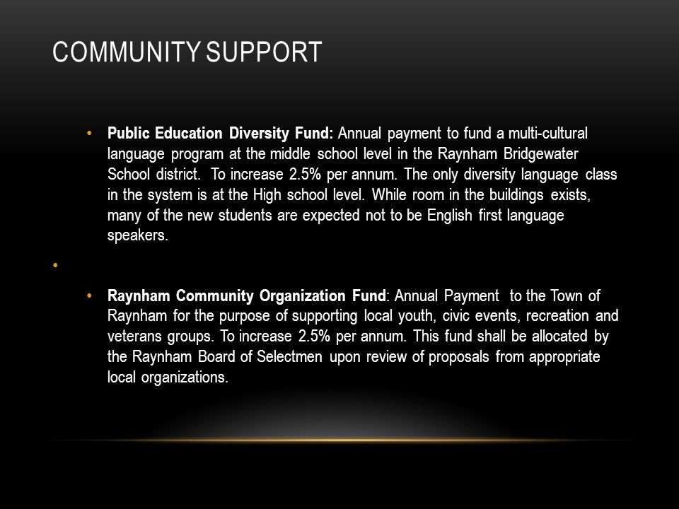 COMMUNITY SUPPORT Public Education Diversity Fund: Annual payment to fund a multi-cultural language program at the middle school level in the Raynham