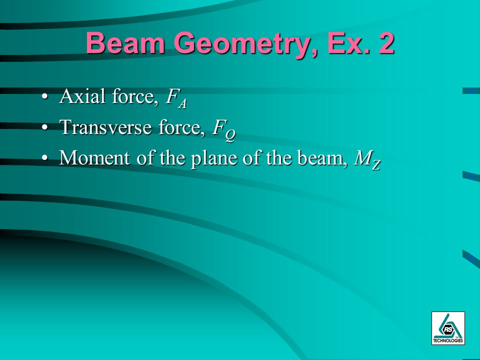 Beam Geometry, Ex. 2 Axial force, F AAxial force, F A Transverse force, F QTransverse force, F Q Moment of the plane of the beam, M ZMoment of the pla