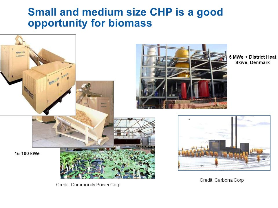 Small and medium size CHP is a good opportunity for biomass Credit: Community Power Corp Credit: Carbona Corp 15-100 kWe 5 MWe + District Heat Skive,