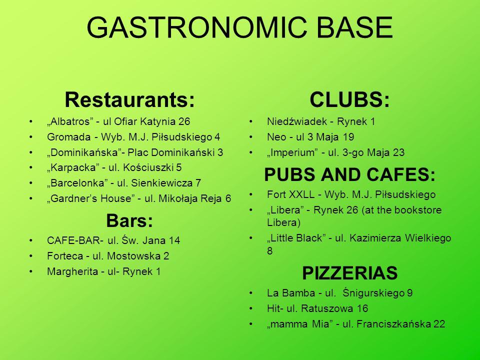 GASTRONOMIC BASE Restaurants: Albatros - ul Ofiar Katynia 26 Gromada - Wyb. M.J. Piłsudskiego 4 Dominikańska- Plac Dominikański 3 Karpacka - ul. Kości