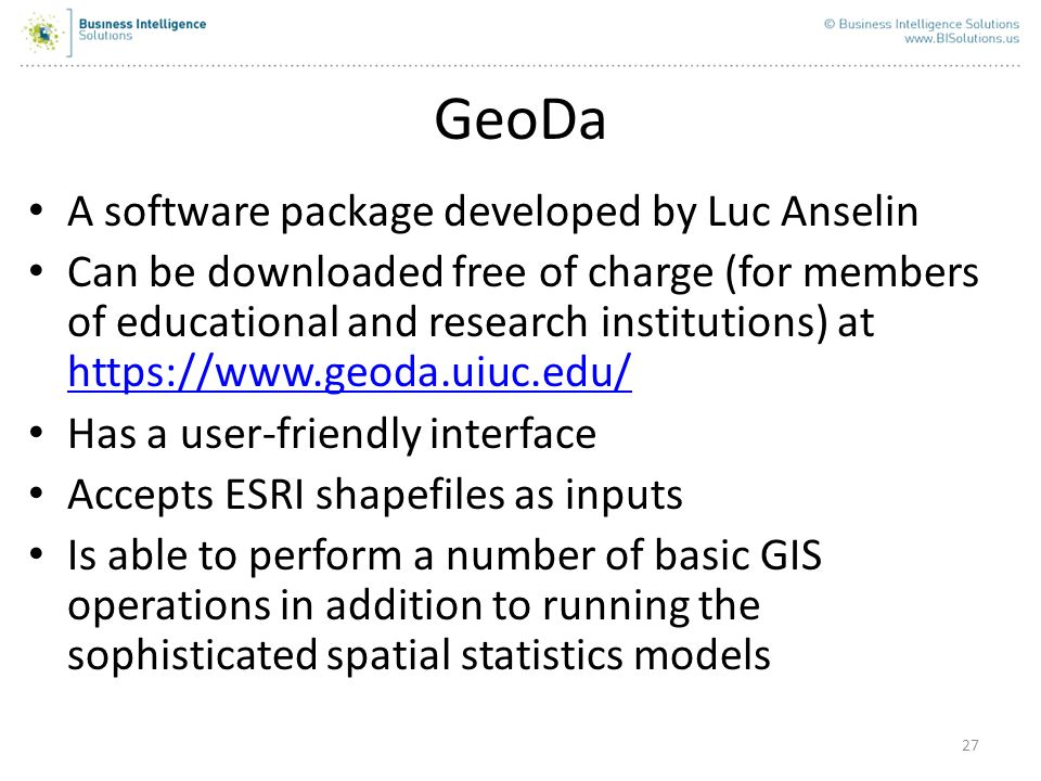 Other Spatial Regression Models Spatial Error (can be implemented in GeoDa) Geographically-Weighted Regression (can be run in ArcGIS 9.3) These methods also aim to account for spatial dependencies in the data