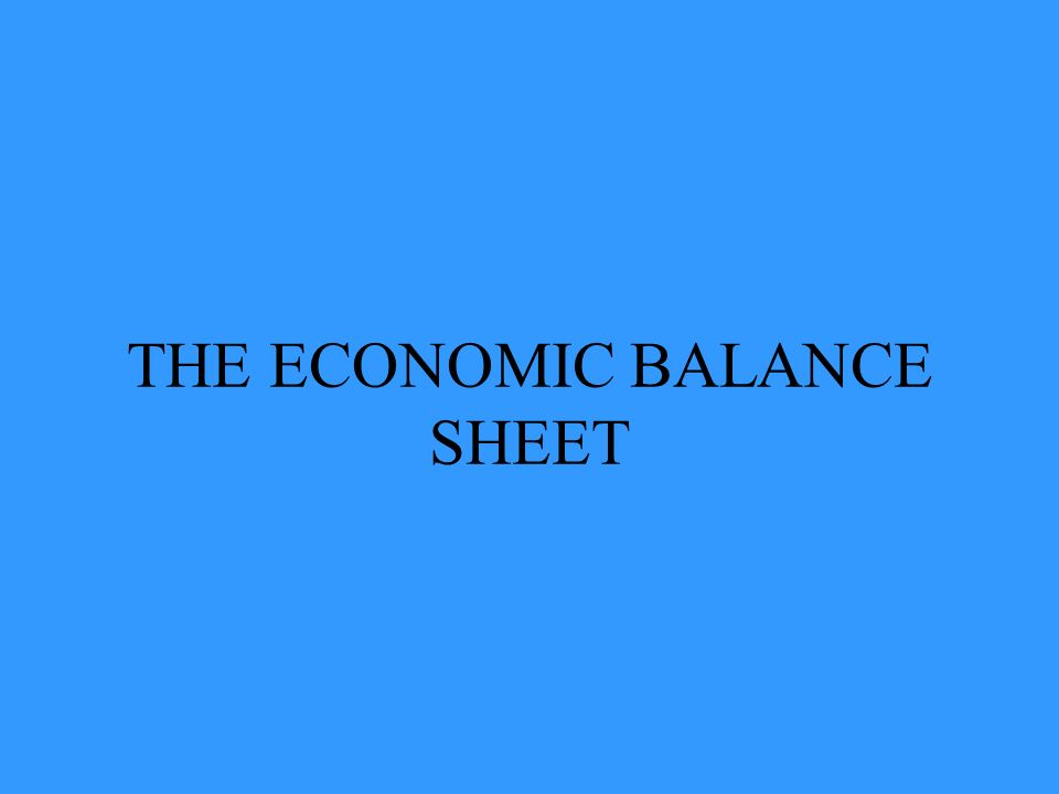 THE ECONOMIC BALANCE SHEET