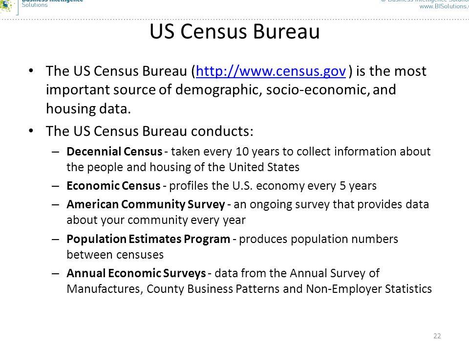 22 US Census Bureau The US Census Bureau (http://www.census.gov ) is the most important source of demographic, socio-economic, and housing data.http:/