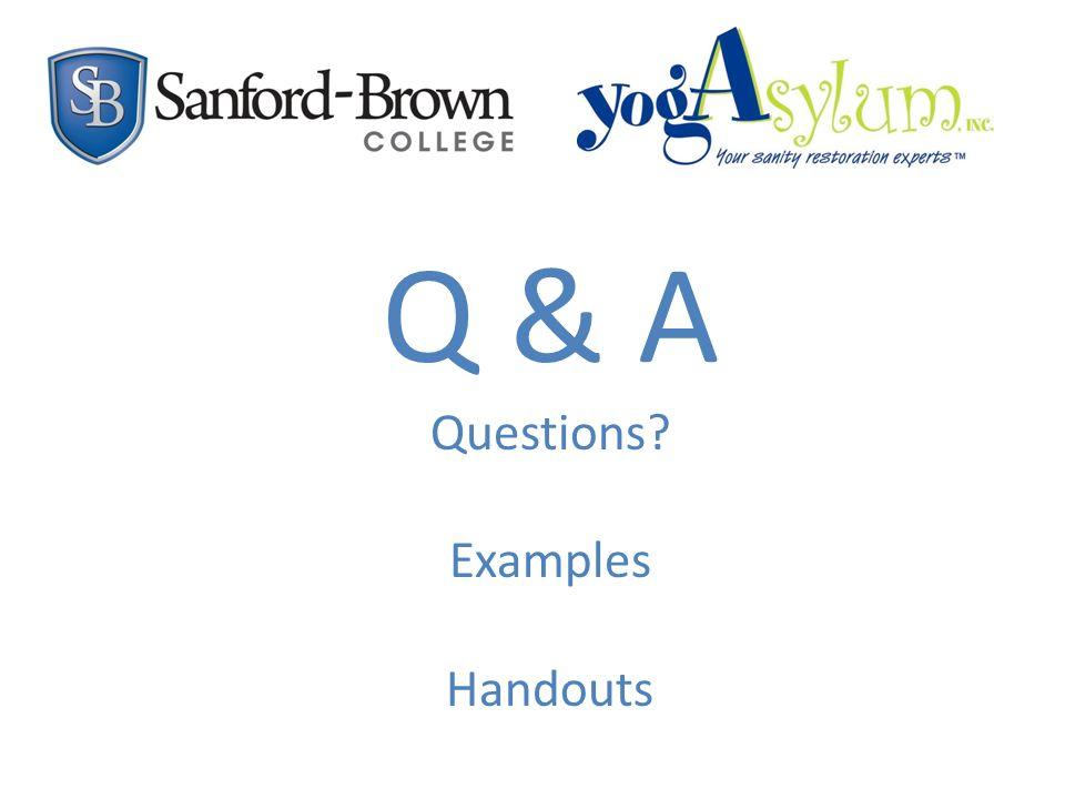 Q & A Questions Examples Handouts