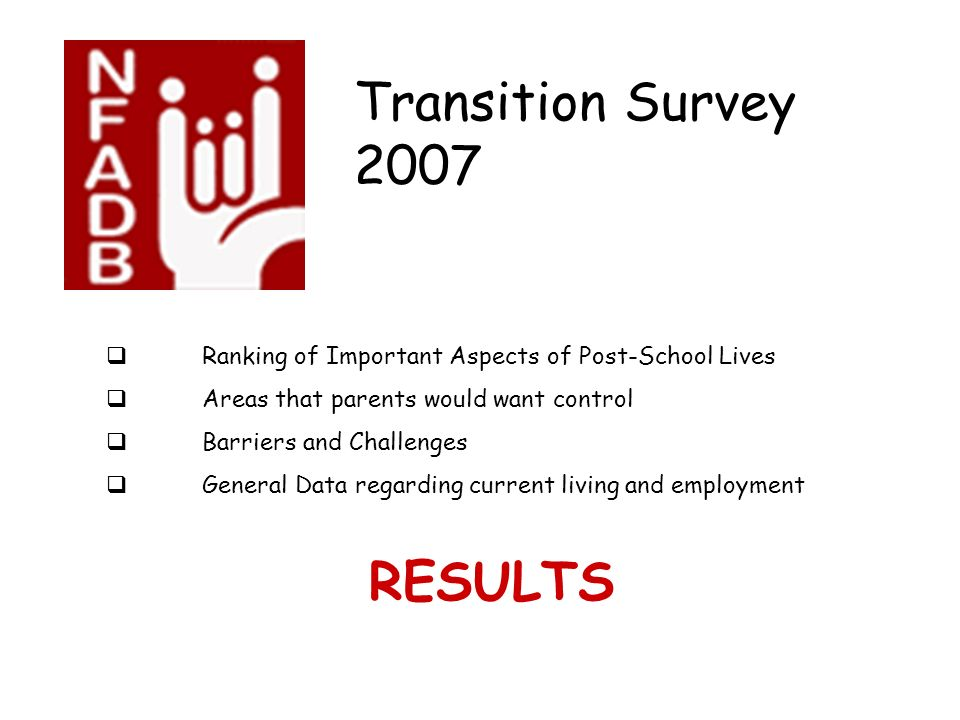 Transition Survey 2007 Ranking of Important Aspects of Post-School Lives Areas that parents would want control Barriers and Challenges General Data regarding current living and employment RESULTS
