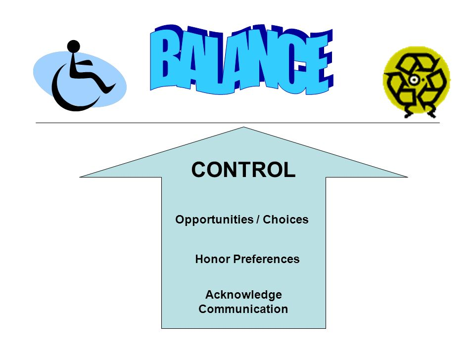 CONTROL Opportunities / Choices Honor Preferences Acknowledge Communication