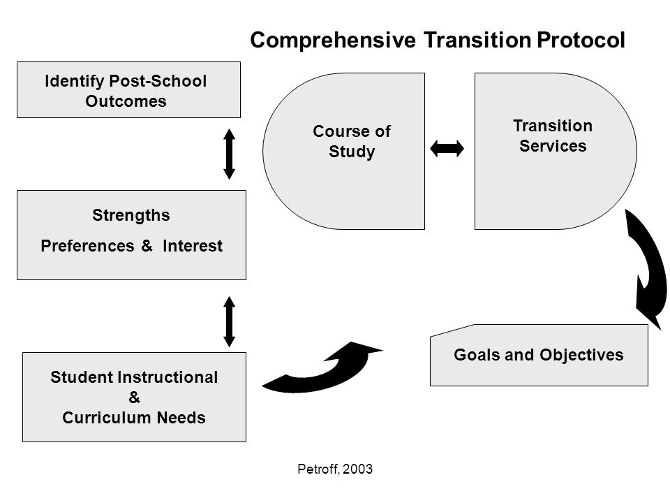 Petroff, 2003 Identify Post-School Outcomes Strengths Preferences & Interest Student Instructional & Curriculum Needs Course of Study Transition Services Goals and Objectives Comprehensive Transition Protocol