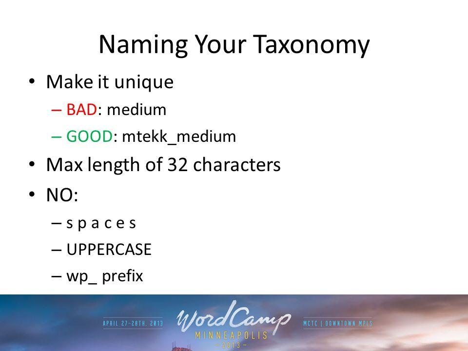 Naming Your Taxonomy Make it unique – BAD: medium – GOOD: mtekk_medium Max length of 32 characters NO: – s p a c e s – UPPERCASE – wp_ prefix