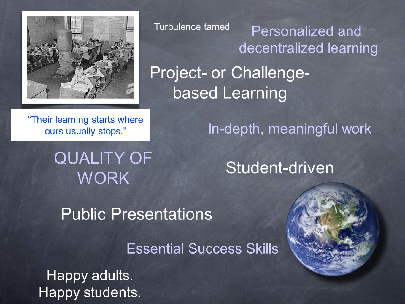 Turbulence tamed Project- or Challenge- based Learning Personalized and decentralized learning In-depth, meaningful work Student-driven QUALITY OF WORK Essential Success Skills Public Presentations Happy adults.