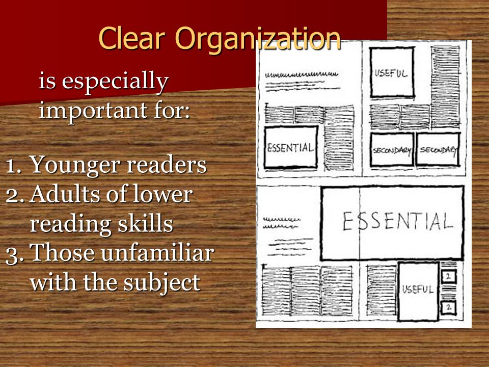 is especially important for: 1.Younger readers 2.Adults of lower reading skills 3.Those unfamiliar with the subject Clear Organization