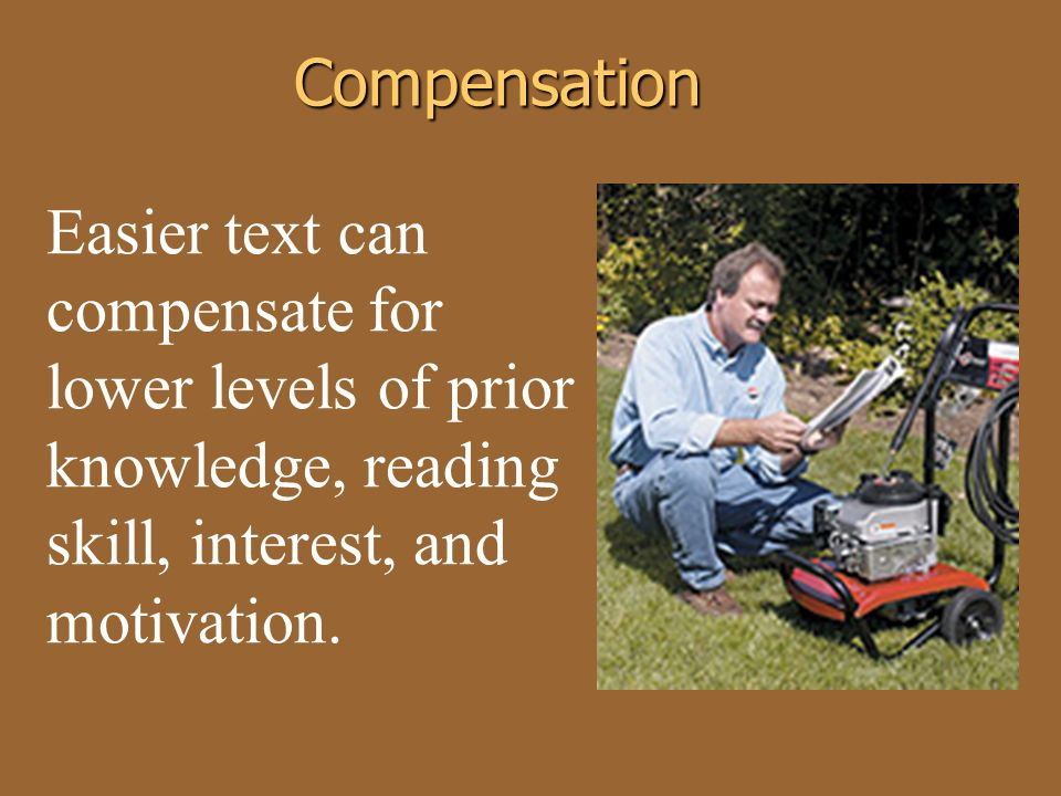 Easier text can compensate for lower levels of prior knowledge, reading skill, interest, and motivation.Compensation