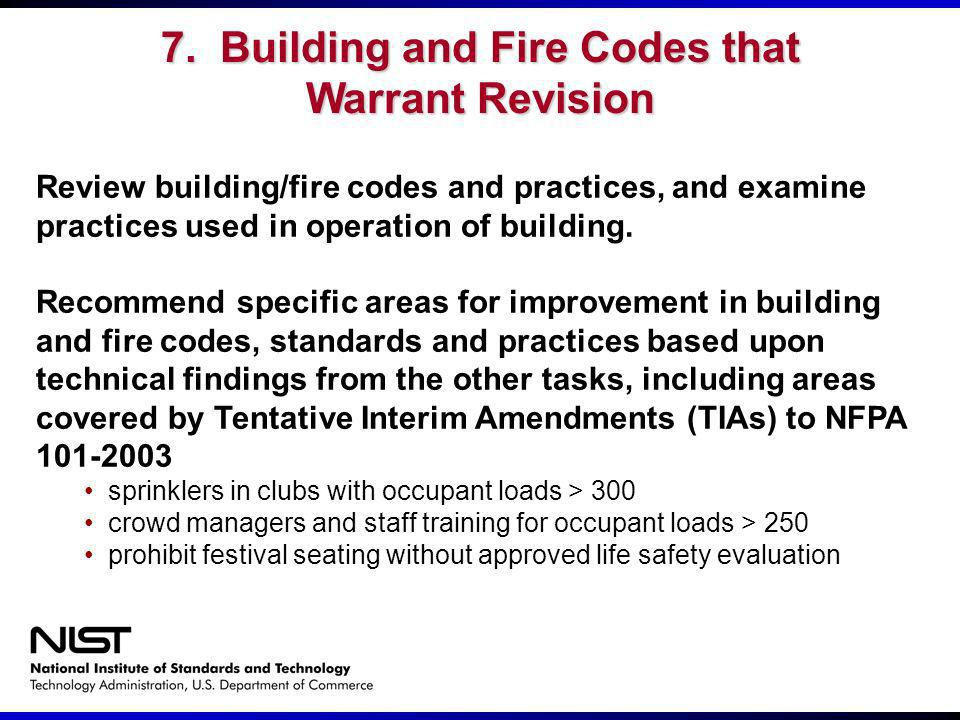 Review building/fire codes and practices, and examine practices used in operation of building. Recommend specific areas for improvement in building an