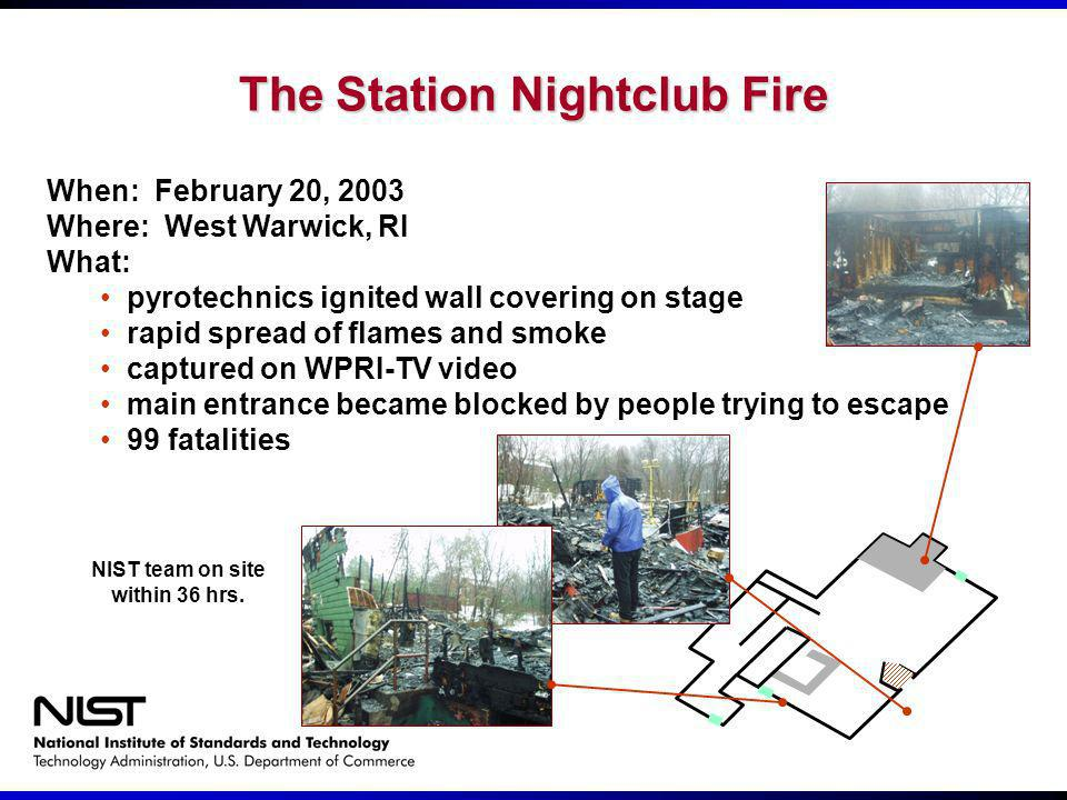 The Station Nightclub Fire When: February 20, 2003 Where: West Warwick, RI What: pyrotechnics ignited wall covering on stage rapid spread of flames an