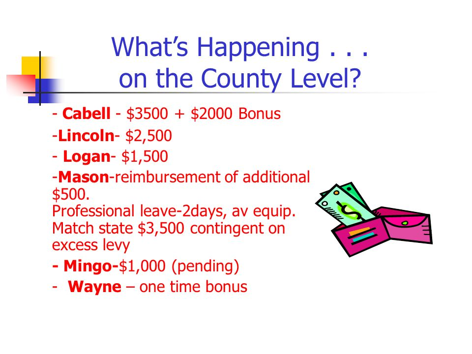 - Cabell - $3500 + $2000 Bonus -Lincoln- $2,500 - Logan- $1,500 -Mason-reimbursement of additional $500.