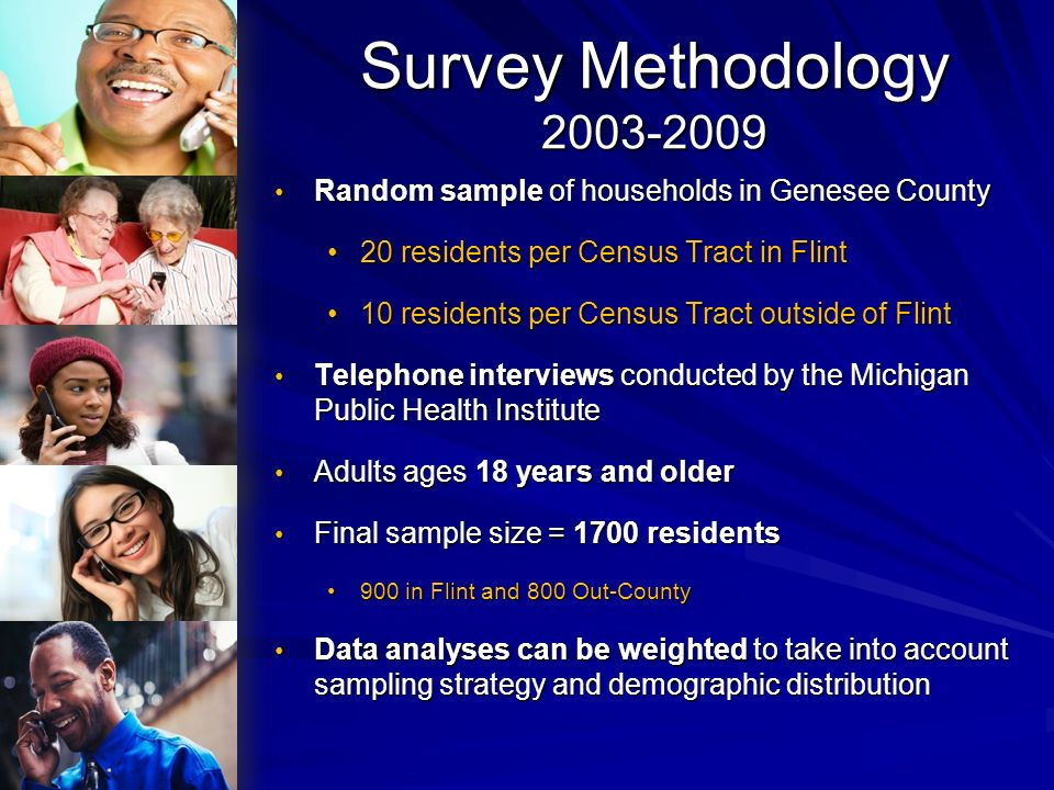 Survey Methodology 2011 Random sample of households in Genesee CountyRandom sample of households in Genesee County Adults ages 18 years and olderAdults ages 18 years and older Telephone interviews conducted by the Michigan Public Health InstituteTelephone interviews conducted by the Michigan Public Health Institute Mailed hard copy surveys compiled by MPHIMailed hard copy surveys compiled by MPHI On-line survey linked to GCHD homepageOn-line survey linked to GCHD homepage Results weighted to take into account sampling strategy and demographic distributionResults weighted to take into account sampling strategy and demographic distribution