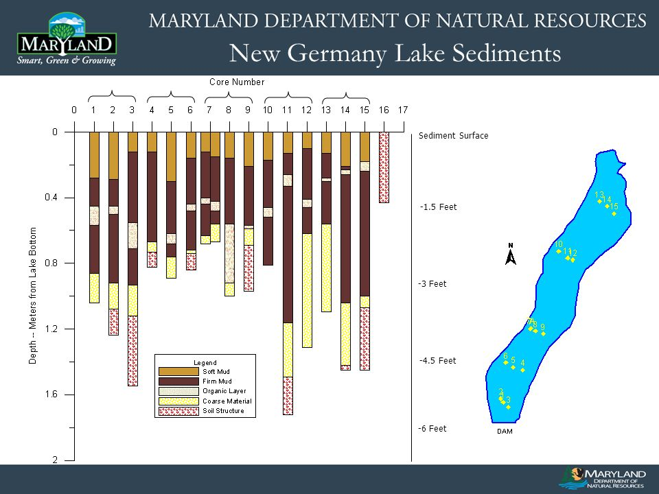 New Germany Lake Sediments -6 Feet -3 Feet Sediment Surface -1.5 Feet -4.5 Feet