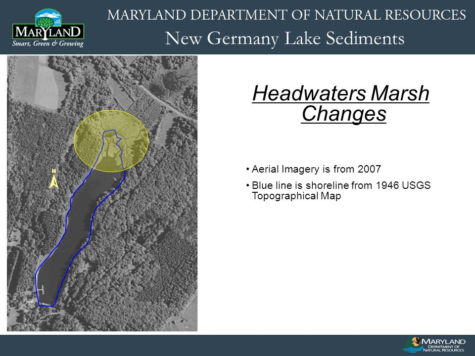 New Germany Lake Sediments Headwaters Marsh Changes Aerial Imagery is from 2007 Blue line is shoreline from 1946 USGS Topographical Map