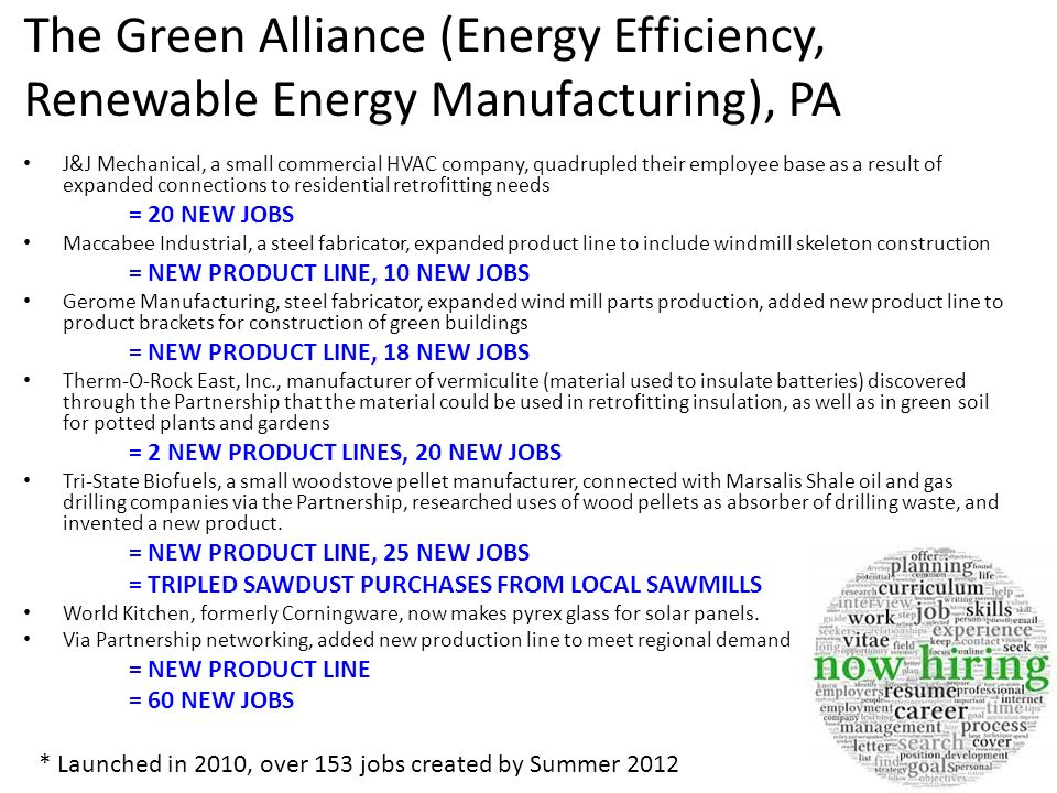 The Green Alliance (Energy Efficiency, Renewable Energy Manufacturing), PA J&J Mechanical, a small commercial HVAC company, quadrupled their employee